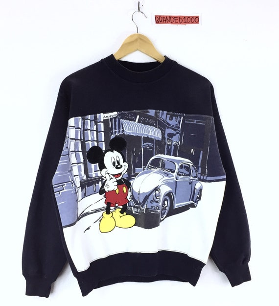 Mickey Comics Mouse Print Cartoon Mickey Jumper Antiques Sweatshirt In Rare Allover Vintage Like Sweater Classic Volkswagen Pullover AxwqvWOIRE