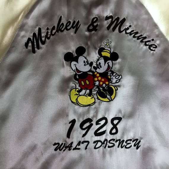 Couple Walt Cartoon Character Sweet Embroidery Mouse Sukajan Disney Japanese Zipper Vintage Bomber And Rare Romantic Jacket Mickey Minnie pq67RAvw