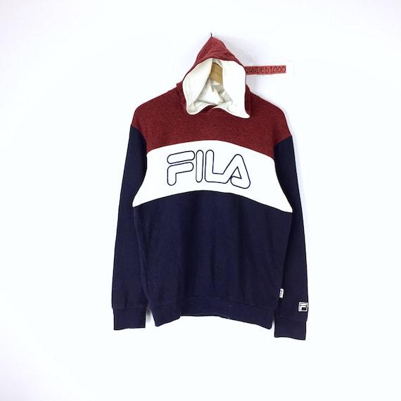 Rare !!! Sweat à capuche couleur Fila Vintage bloc 3 couleur Asap Rocky Fila très Rare pull Fila gros Logo Spellout à capuche pull Sportwear