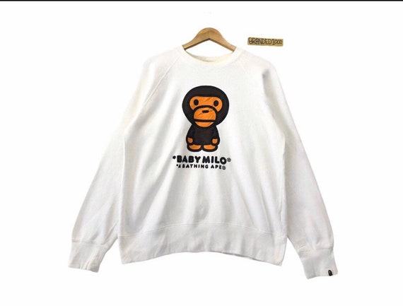 Rare!!Vintage A Bathing Ape Baby Milo Big Logo Spellout Bape Streetwear Sweater Hip Hop Skateboards