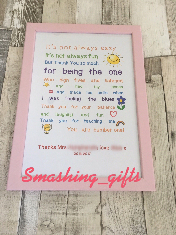 Teacher nursery childminder thank you appreciation printed