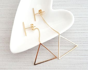 Triangle Drop Ear Jacket Earrings,Bar Star Drop Ear Jacket,Triangle Drop Earring,Geo Dangle Earring,Geo Triangle Earring,Triangle Ear Jacket