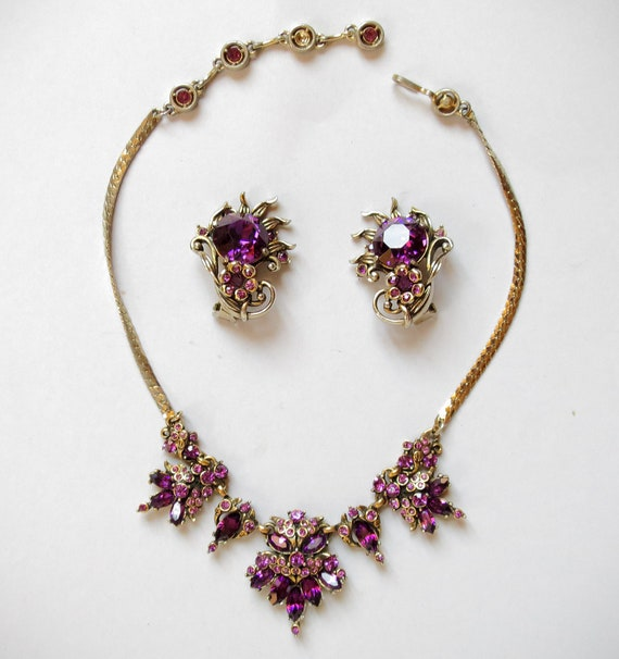 Pearl and Amethyst Necklace and Earring Demi Parure Set