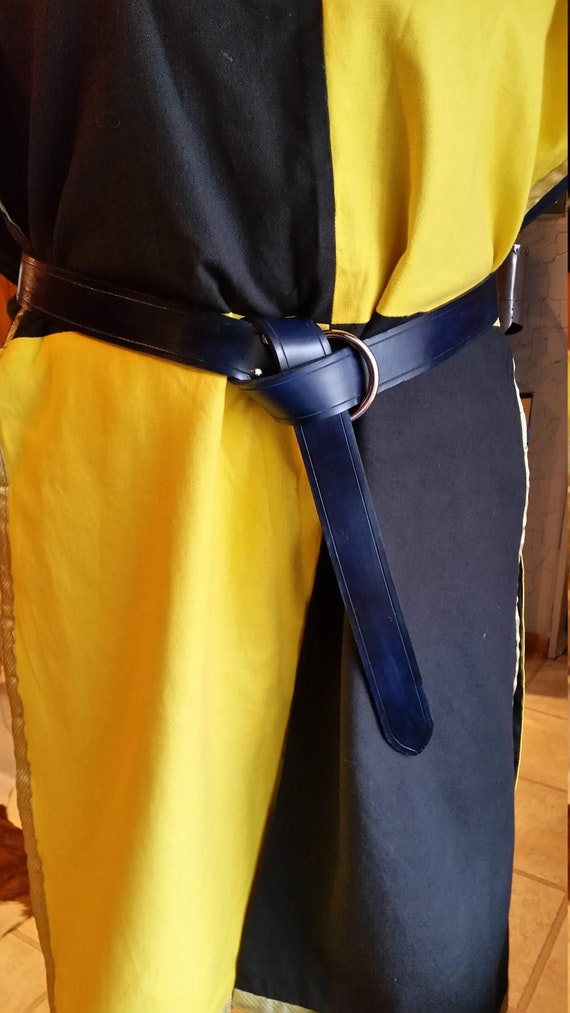 Medieval Ring Belt, Renaissance festival, Larp, Cosplay, SCA, costume, blue leather, hand made.