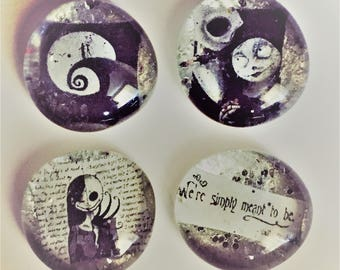 Set of 4 We're Meant To Be - Nightmare Before Christmas Style Magnet/Pins, Jack Skellington, Sally, His and Hers