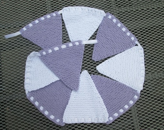 Hand knitted bunting in lilac and white