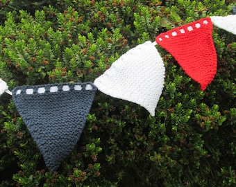 Hand knitted bunting in red, white and navy