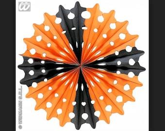 Halloween Paper Fan Black /Orange 55cm Vintage style  paper decoration