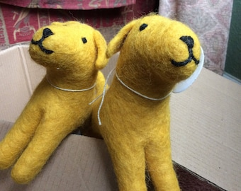 Cute Yellow Labrador- felt toy dog - vintage style 1940's toys.