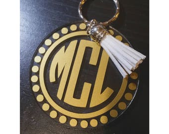 Monogrammed Keychain Personalized With Your Initials &  Fave Color With Tassel - Circle Monogram - Round Monogram