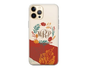 Personalized iPhone case. Monogram Autumn Fall iPhone case.iPhone 11 12 case.iPhone 13 Pro case.iPhone 12 Pro Max case.iPhone X XR 8 Samsung