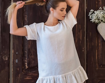 Linen tunic ruffled short sleeves-linen loose fit top DIFFERENT colors-summer tunic-eco friendly tunic top-Loose Scandinavian style tunic
