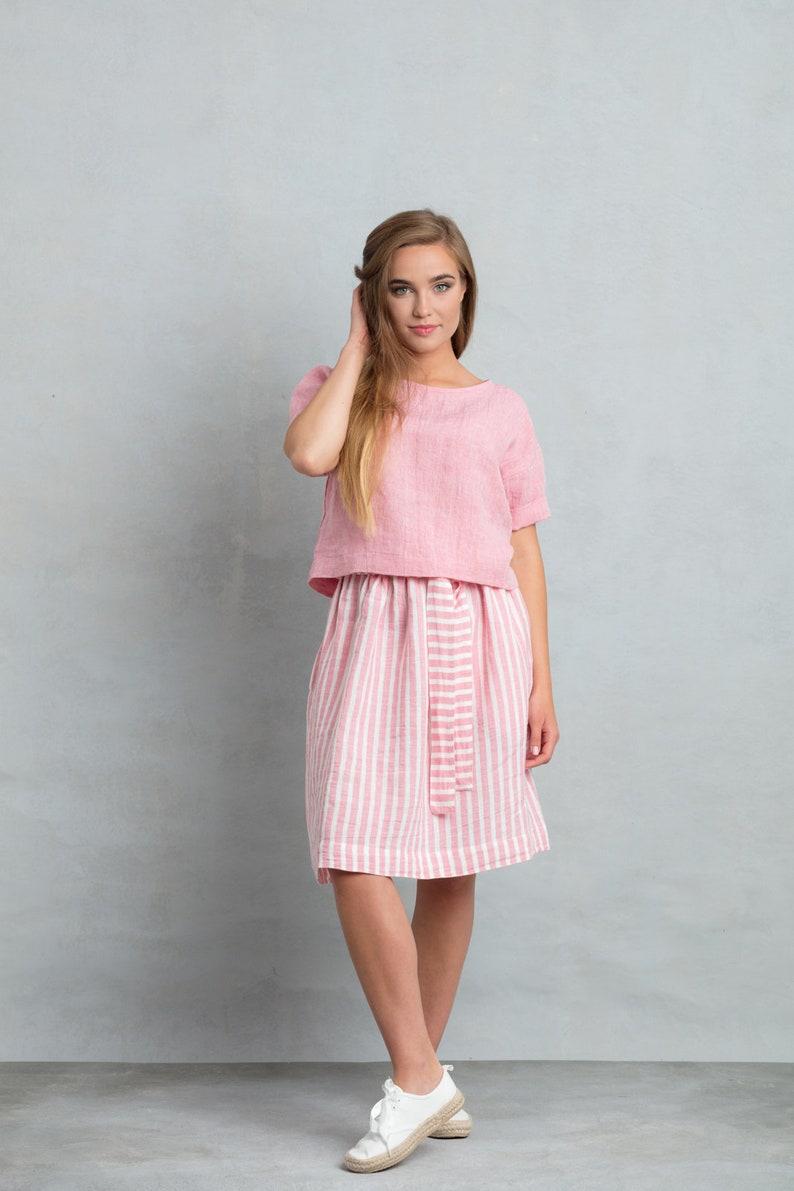 47660fe1fc Linen skirt and top set women linen clothing set summer set | Etsy
