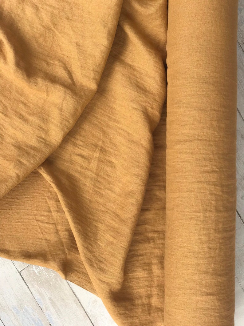 softened pure linen OEKO-TEX certified fabric 55 wide-natural linen Mustard brown fabric honey yellow linen by the yard by the meter
