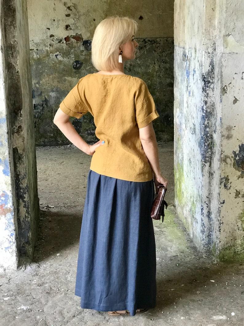 comfortable skirt wide elastic waistband linen clothing women Maxi skirt linen skirt maxi skirt with deep pockets prewashed linen skirt