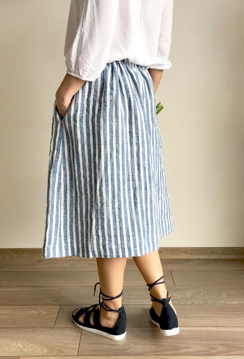 Linen skirt STRIPED midi-summer skirt with deep pockets-comfortable skirt wide elastic waistband-blue pink striped prewashed linen skirt