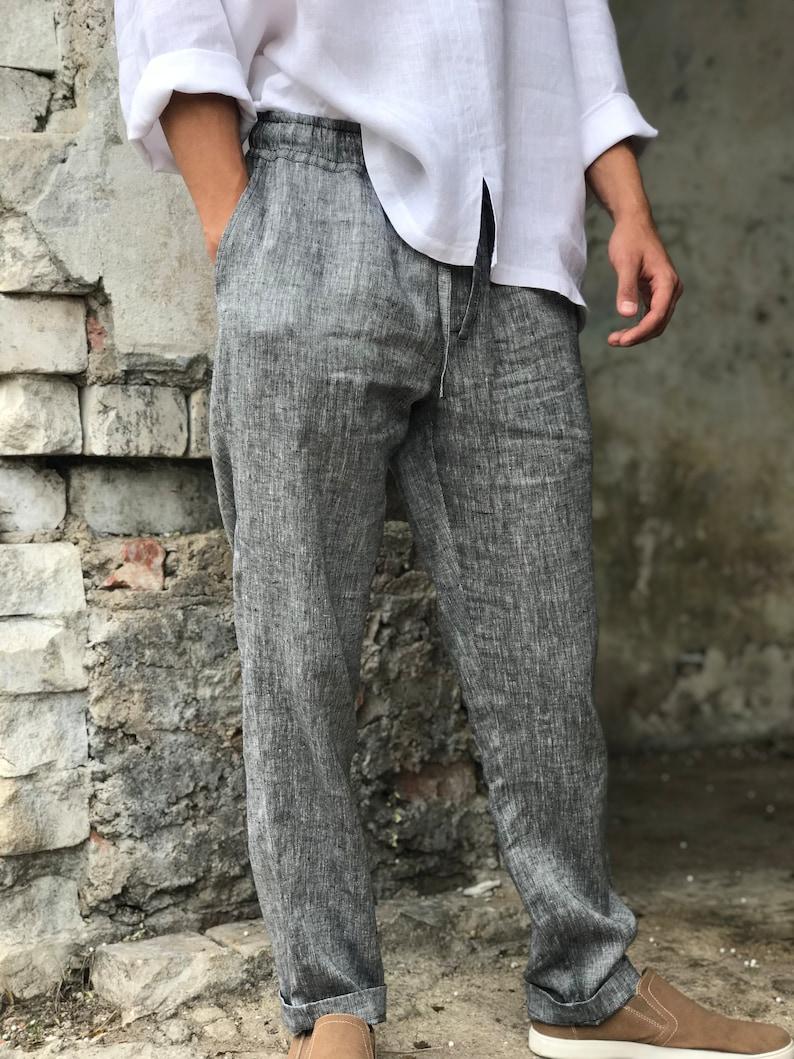 e6967968528 Mens linen pants linen trousers drawstring elastic waist
