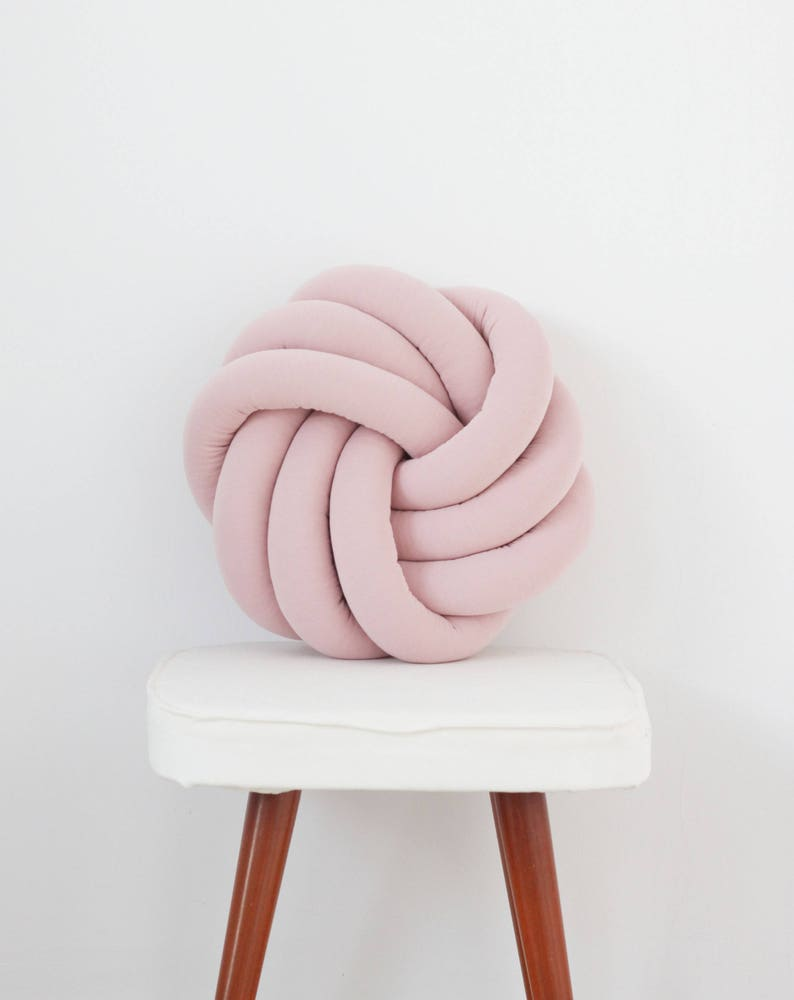 Pink Knotted Pillow Kids Baby Decorative Cushion image 0