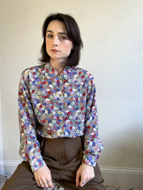 80/'s Double Breasted Cubism Blouse