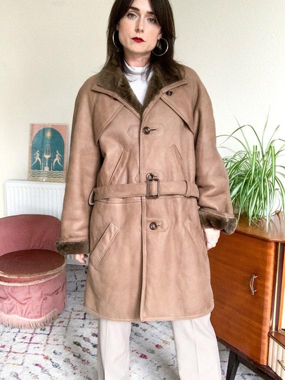 80's Belted Sheepskin Coat