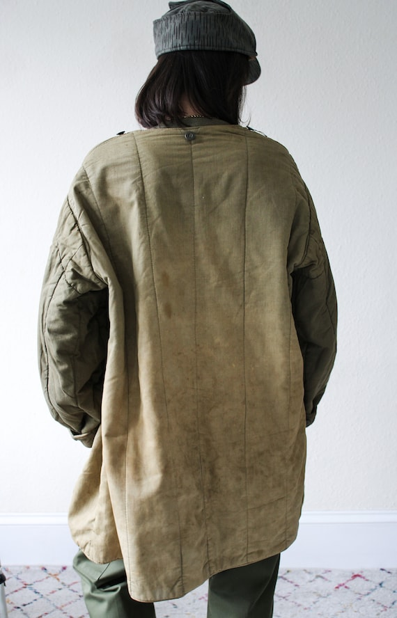 Distressed Quilted Military Liner Jacket - image 3