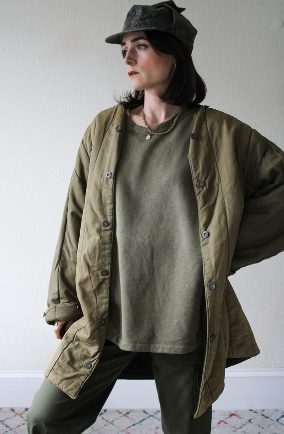 Distressed Quilted Military Liner Jacket - image 5