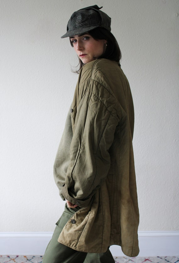 Distressed Quilted Military Liner Jacket - image 4