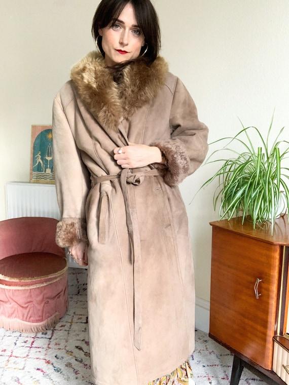 Afghan Style Sheepskin Coat with Fur Collar