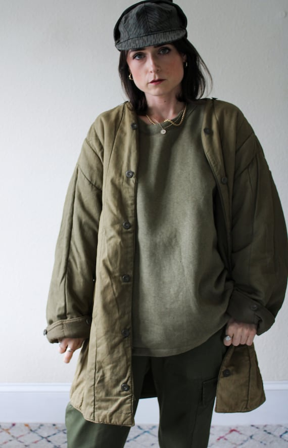 Distressed Quilted Military Liner Jacket - image 2