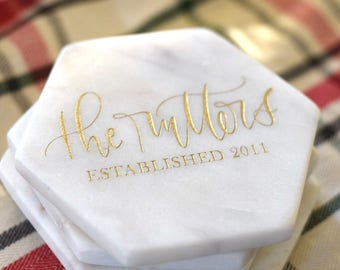 Personalized Coasters Marble Hexagon.  Set of 4. Hand Lettered. White and Gold Calligraphy Coasters. Custom Calligraphy. Gift. White Marble.
