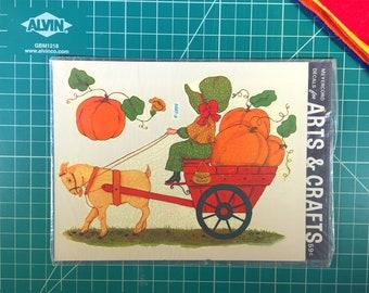 Vintage water slide decal - pumpkin wagon