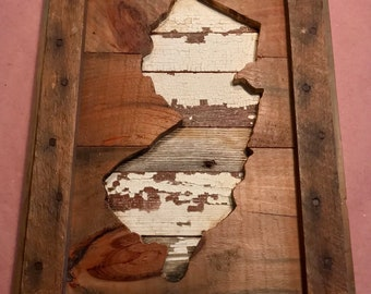 Handmade NJ New Jersey reclaimed barn wood state map-RUSTIC home decor, gifts, wall art-11