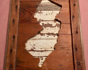 Handmade NJ New Jersey reclaimed barn wood state map-RUSTIC home decor, gifts, wall art-10