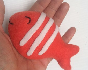 Customizable order, handmade puppet, goldfish, custom order, hand made, fish, smiling fish, plush coral fish