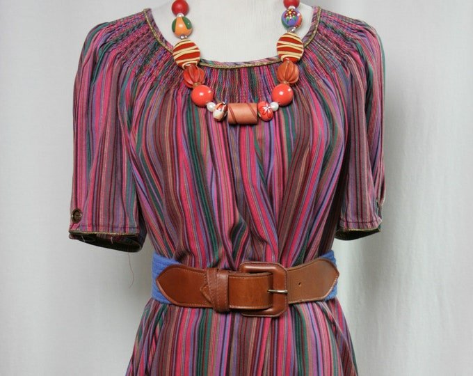 70's Bright Stripe Boho Maxi Dress- R. Michael Alan