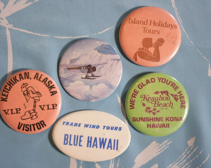 Set of 5 Vintage Travel Pins