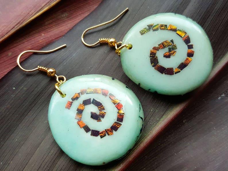 Aqua Tagua Nut Earrings  Pachamama Life Spiral  Blue Round image 0