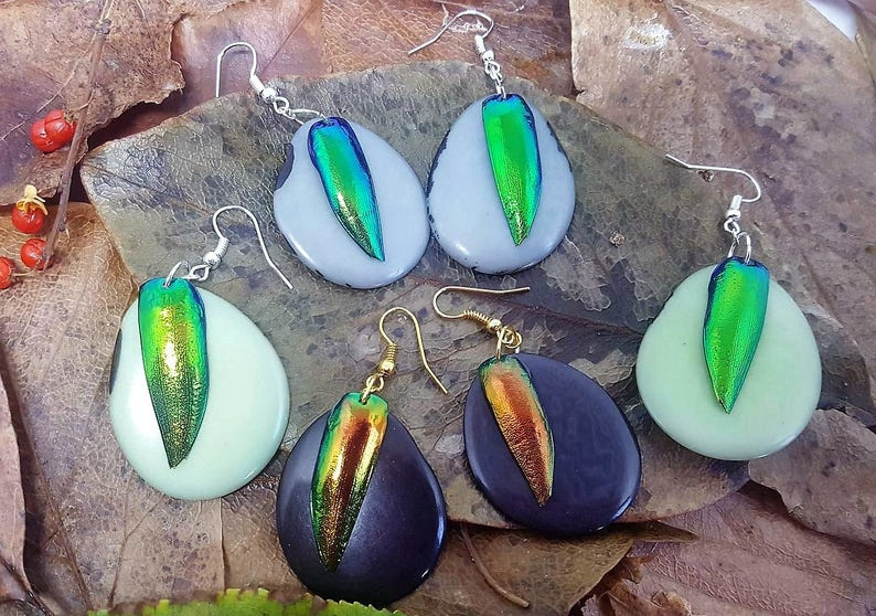 Statement Ecofriendly Tagua Earrings  Sustainable Jewel image 0