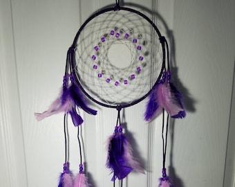 Purple Dream catcher, Purple Beaded, Purple Feathers