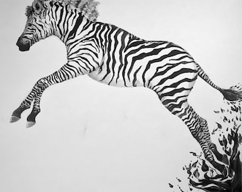 Black & White Zebra - Original Watercolor Painting w/ Custom Built Frame