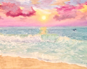 Ocean Sunrise - Original Oil Painting