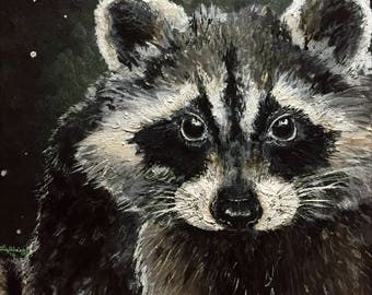 Bandit - Print of Raccoon Painting