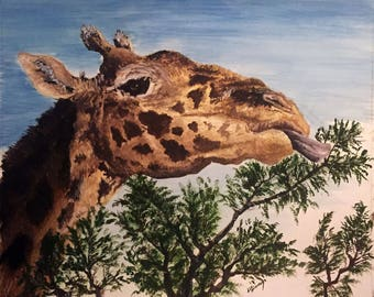 Print of Giraffe Painting