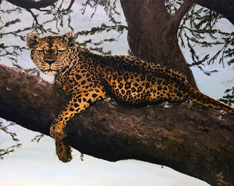 African Leopard in Tree - Original Acrylic Painting