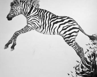 Inked - Print of Zebra Painting