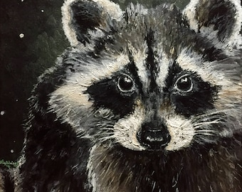Bandit - Acrylic Painting of a Raccoon