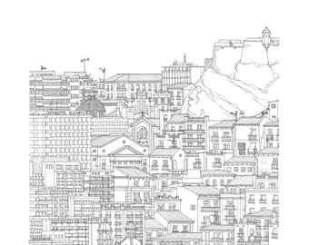 Alicante, Valencia, Spain. Print | Poster of its architectonic landscape (ink drawing)