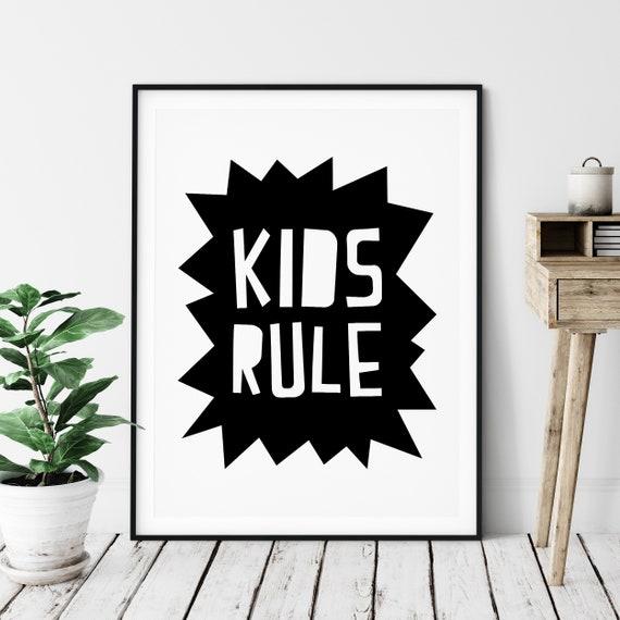 KIDS RULE NURSERY PRINT KIDS ROOM WALL DECOR