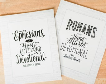 Book Bundle // 1 Ephesians and 1 Romans devotional // Christian gift // hand lettering // bible study // scripture art // Easter gift