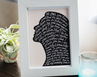 Psalm 139 (5x7 Print) // hand lettering // calligraphy // Christian quotes // fearfully and wonderfully made // silhouette // Christmas gift